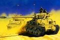 Picture war, art, painting, tank, M50/51 Super Sherman