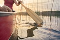 Picture woman, adventure, canoeing, reeds