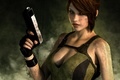 Picture look, girl, face, gun, weapons, background, hair, the game, smoke, Mike, gloves, lara croft, tomb ...