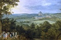Picture picture, The Hunt Of The Grand Dukes, trees, people, Jan Brueghel the elder, castle, field, ...