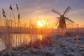 Picture mill, frost, reed, River, the sun