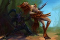 Picture feathers, wow, murder, art, night elf, world of warcraft, girl, attack, elf, spear, forest