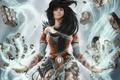 Picture the wreckage, girl, magic, hair, art, runes, Diablo III, wizard, Reaper of Souls