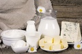 Picture flowers, sour cream, cheese, chamomile, oil, milk, pitcher