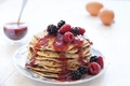 Picture berries, pancakes, sauce