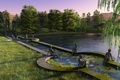 Picture lake, Park, statue, render, trees, pond, sunset