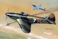 Picture war, art, painting, aviation, Yakovlev Yak-3, ww2, russian fighter