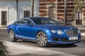 Picture palm trees, background, continental, Bentley, coupe, street, Bentley, the front, Speed, Continental, blue