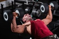 Picture bodybuilder, muscles, dumbbell, strength
