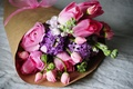 Picture pink, buttercups, tulips, bouquet