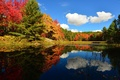 Picture autumn, the sky, clouds, trees, pond, forest