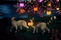 Picture by Vialir, cherry blossoms, night, fantasy, cats, nature, lanterns