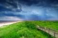 Picture sea, clouds, bridge, grass, people, beach, sand