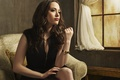 Picture chair, actress, brunette, window, photoshoot, Kat Dennings, 2 Broke Girls, Two broke girls, Kat Dennings, ...