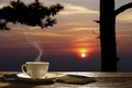 Picture mug, table, saucer, the evening, beautiful, positive, summer, background, tea, diary, Cup, pencil, background, good ...