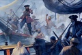 """Picture pirates, art, figure, arquebus, 1718 year, Board, the sloop """"Adventure"""", grappling hooks, """"Blackbeard"""", muskets, cleaver, ..."""