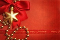 Picture toy, New Year, tape, beads, holiday, decoration, Christmas, red background, New Year, Christmas, bow, gold, ...