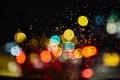 Picture glass, drops, macro, night, glare, rain, Lights, bokeh