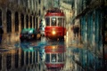 Picture machine, the city, rain, transport, street, tram