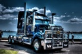 Picture water, people, promenade, USA, usa, truck, tractor, American tractor, western star