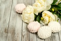 Picture Board, white, peonies, marshmallows