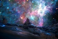 Picture space, stars, landscape, mountains, Alps, space, mountains, stars, landscapes, nebula, nebulae, Matterhorn