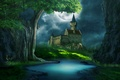 Picture grass, clouds, glade, river, castle. the moon