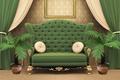 Picture style, sofa, room, interior, flowers, green, curtains, pillow, frame, curtains, design
