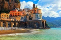 Picture mountains, shore, coast, sea, building, Positano, rocks, Italy, Amalfi, Italy, Church, nature, home, Positano, Salerno, ...