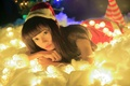 Picture lights, look, garland, holiday, girl, Asian