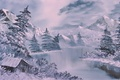 Picture winter, forest, snow, mountains, painting, hut