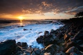 Picture sunset, stones, the ocean, coast, Hawaii, Hawaii