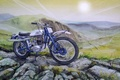 Picture mountains, figure, motorcycle, painting