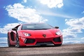 Picture the sky, clouds, Lamborghini, Lamborghini, red, red, Lamborghini, LP700-4, Aventador, Aventador, LB834