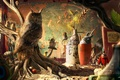 Picture photo, room, map, owls, Totoro, desktopography