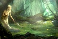 Picture forest, water, girl, dragons, sword, art, A Song of Ice and Fire, lu xiangxiang