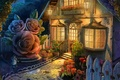Picture flowers, gnome, house, light, art, Windows