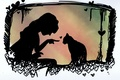 Picture heart, animal, girl, silhouettes, cat