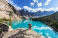 Picture Canada, Moraine, lake, Banff National park, lake, forest, landscape