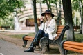 Picture hat, Park, girl, boots, face, bench, hair