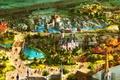 Picture landscape, the city, people, castle, fiction, holiday, figure, rides, fantasy, carnival, Kingdom, art