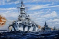 Picture art, WW2, ships of the line, sea, US NAVY, figure, shots, Stroy, fire