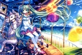 Picture sea, the sky, girl, the sun, clouds, horse, seagulls, art, attraction, Hatsune Miku, Vocaloid, Vocaloid, ...