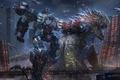 Picture monsters, megapolis, art, fight, cyberpunk, the city, battle, fiction, giants, robot, aliens