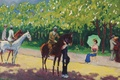 Picture picture, genre, Kees van Dongen. Alley Acacias, alley, horse, rider, lady