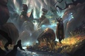 Picture World of Warcraft, river, girl, the city, elf