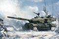 Picture winter, forest, snow, figure, art, tank, combat, Chinese, main, Type 99, ZTZ-99