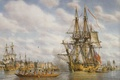 Picture canvas, buildings, picture, oil, ships, port, sea, sailboats, waters, pies, building, the natives