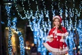 Picture lights, holiday, girl, background, face, Asian