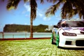 Picture palm trees, tuning, Nissan, Sylvia, sea, white, S15, Silvia, Nissan, tuning, the sun, white